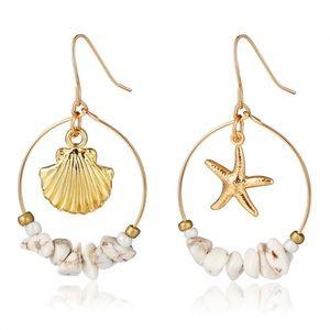 Sea Shell Gold Tone Earrings
